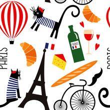 Cartoon French Culture Symbols...