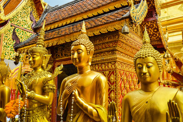 Fototapeta Many Buddhas in Wat Phra That Doi Suthep - Chiang Mai, Thailand
