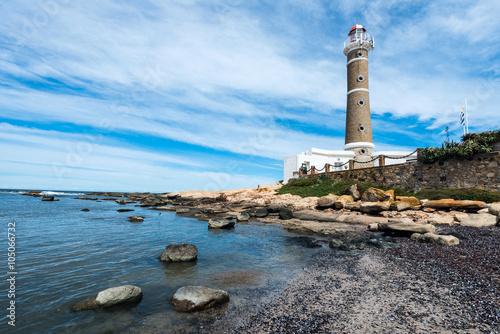 Montage in der Fensternische Leuchtturm Lighthouse in Jose Ignacio near Punta del Este, Uruguay