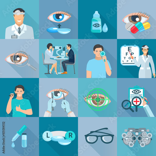Fotografía  Oculist Ophthalmologist Flat Icons Set