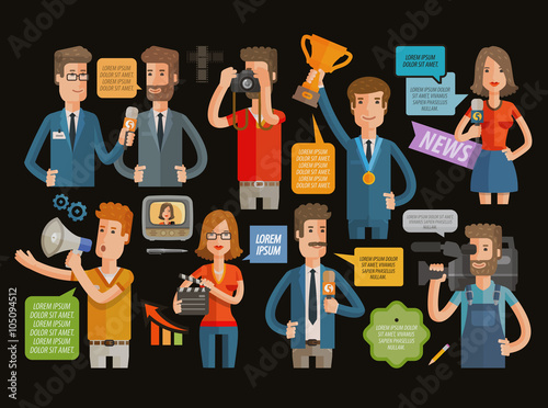 Fotografia, Obraz  TV, broadcasting, journalism icons set. vector illustration