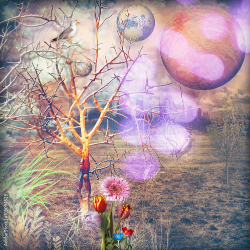 Recess Fitting Imagination Enchanted countryside with fairytales flowers series
