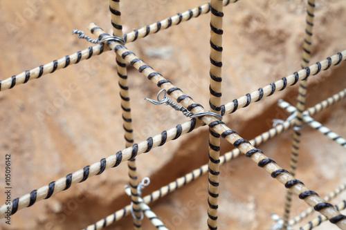 Photographie  Composite Rebars. Reinforcing cage. Fiberglass reinforcement.