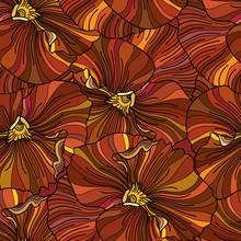 Orange Pansy Flowers Seamless Background