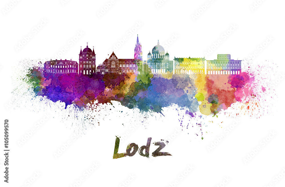 Fototapeta Lodz skyline in watercolor