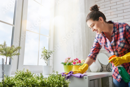 Fotomural woman makes cleaning