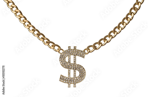 Fotografie, Tablou Dollar symbol with golden chain isolated on white background