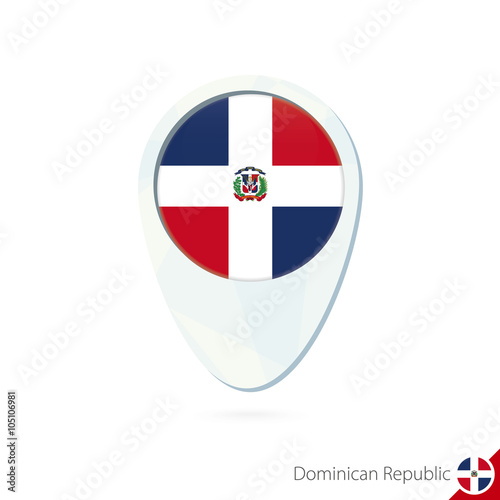 Dominican Republic flag location map pin icon on white ...