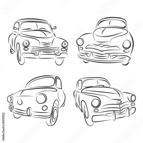 Staande foto Cartoon cars Retro classic cars icons set. Vintage cars vectors.