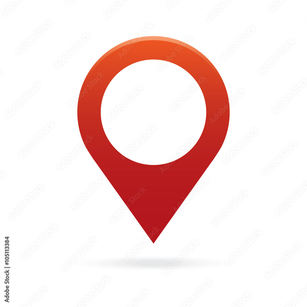 Fototapeta red map pointer icon marker GPS location flag symbol