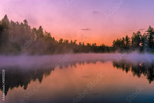 Printed kitchen splashbacks Purple Summer evening landscape with forest, river and foggy sunset