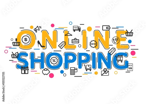 online shopping concept with vector icons and elements online