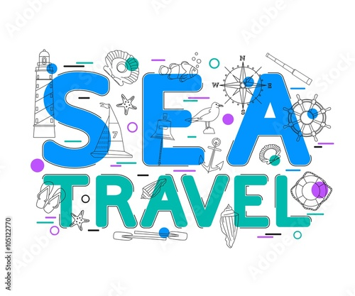 Sea Travel Concept with vector icons and elements