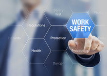 Businessman Presenting Work Safety Concept, Hazards, Protections
