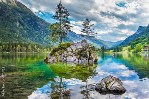 Aluminium Prints Dark grey Lake Hintersee in Nationalpark Berchtesgadener Land, Bavaria, Germany