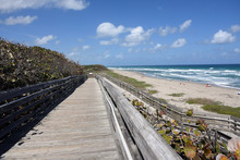 Old Wooden Boardwalk Provides Handicapped Access To The Beach At John D MacArthur State Park Near West Palm Beach, Florida.
