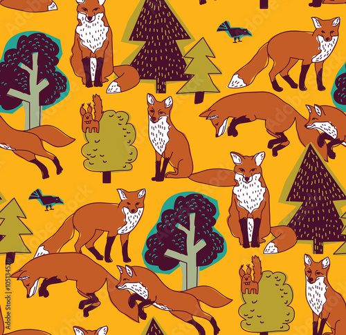 Fototapety, obrazy: Fox in forest color seamless nature pattern.