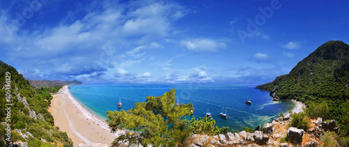The panoramic view from Olympos Mountain , Kemer, Antalya , Turk
