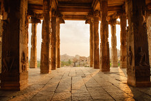 Beautiful Architecture Of Ancient Ruines Of Temple In Hampi