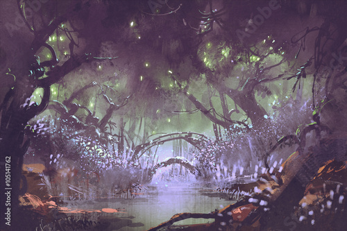 Photo enchanted forest,fantasy landscape painting