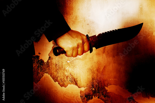 Photo  Horror scene of man with knife,Serial killer or violence concept background