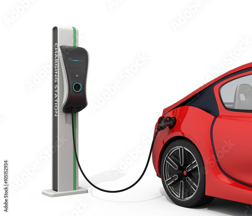 Leinwand Poster Electric vehicle charging station for public usage