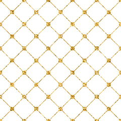 Fototapeta Do sypialni Rhombus seamless pattern. Gold glitter and white template. Abstract geometric texture. Golden ornament. Retro, Vintage decoration. Design template wallpaper, wrapping, fabric etc. Vector Illustration.
