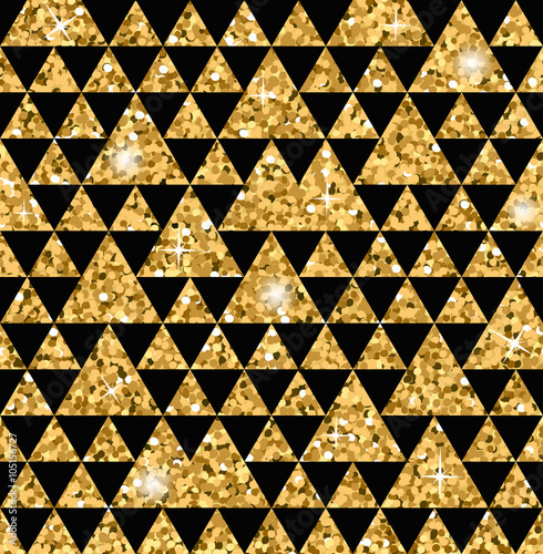 Triangle Seamless Pattern Gold Glitter Black Template