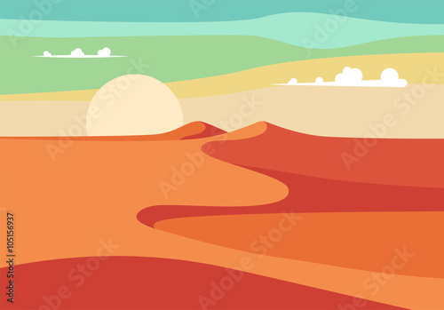 Group of People with Camels Caravan Riding in Realistic Wide Desert Sands in Middle East. Editable Vector Illustration