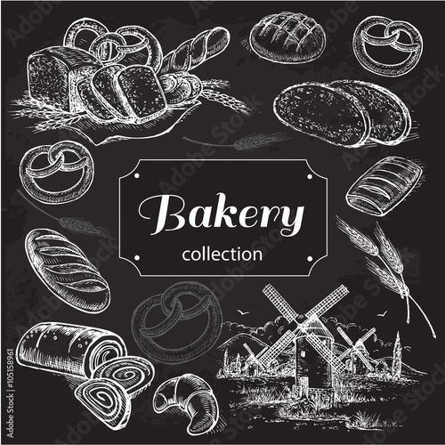 hand drawn sketch illustration bakery on a black background
