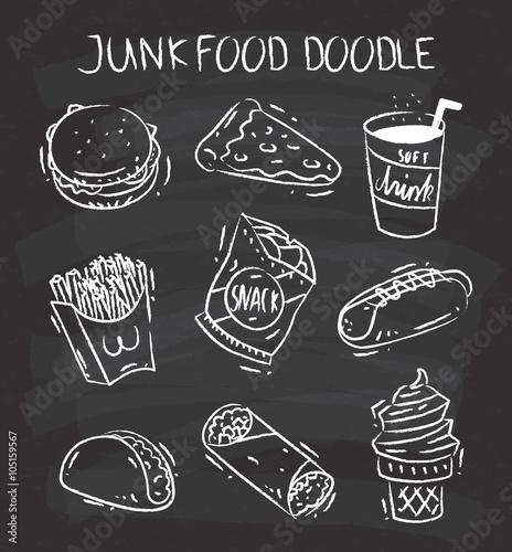 Set of snack doodle on chalkboard background Fototapete