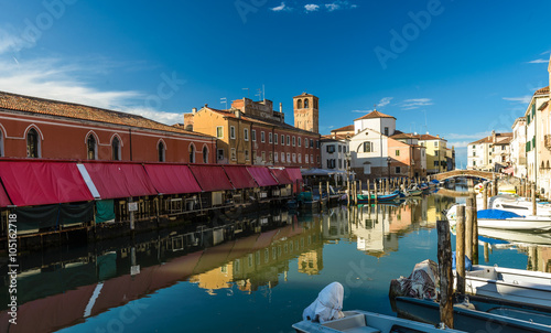 Poster Channel Canal at the old town of Chioggia - Italy.