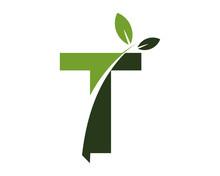 T Green Leaves Letter Swoosh Ecology Logo