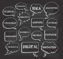 Speech Bubble With Digital Technology Keywords On Chalkboard Background
