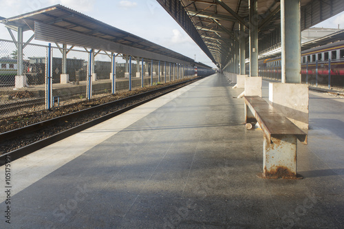 empty platform at public train station in evening