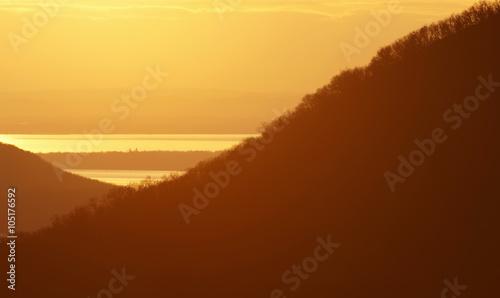 Poster Zonsondergang Sunset at Lake Balaton, Hungary