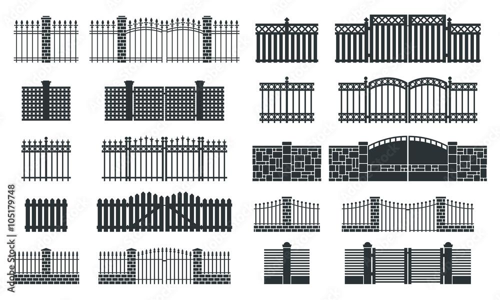 Fototapeta Vector fence silhouette set