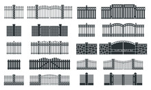 Vector Fence Silhouette Set