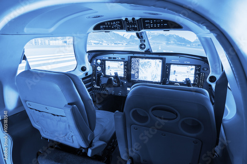 Flight simulator cockpit for small private airplanes.