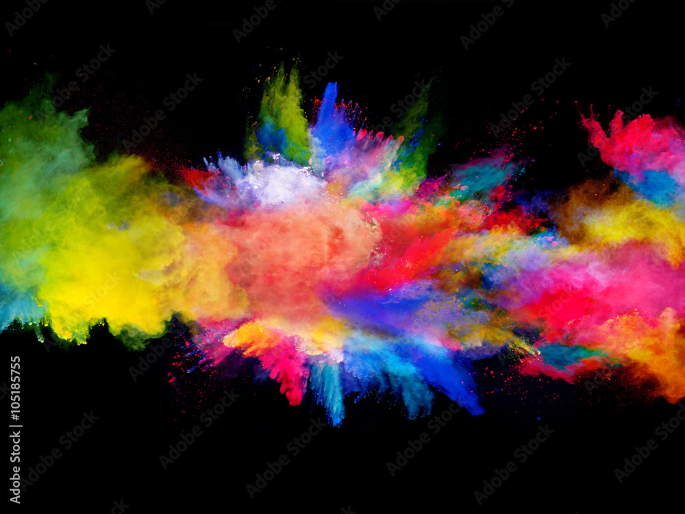 Fototapeta Explosion of colored powder on black background