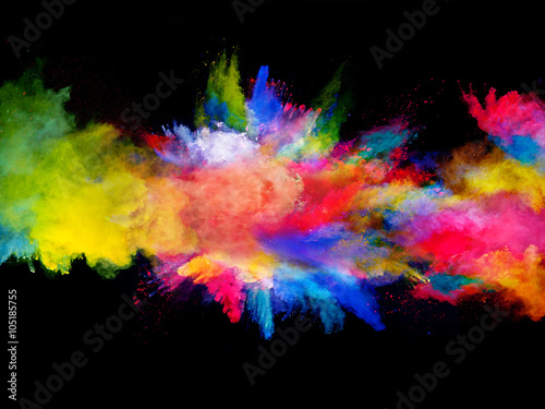 Fototapeta Explosion of colored powder on black background obraz