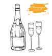 Vector champagne bottle and glass. Champagne hand drawn sketch illustration