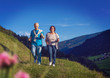 canvas print picture senior couple doing nordic walking