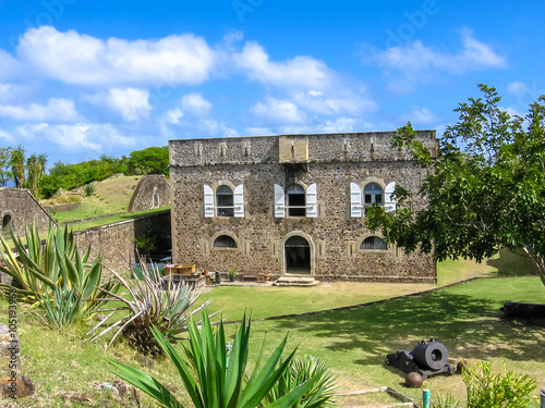 Photo sur Aluminium Fortification The famous Fort Napoleon in Terre-de-Haute, Archipelago of Les Saintes, 15 kilometers from Guadeloupe, Antilles, Caribbean.