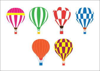 Set of colored hot air balloons on white background