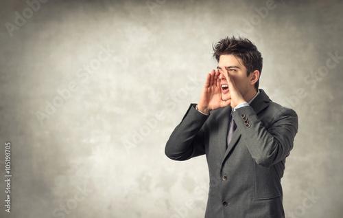 Fotografie, Obraz  Mladý podnikatel křik