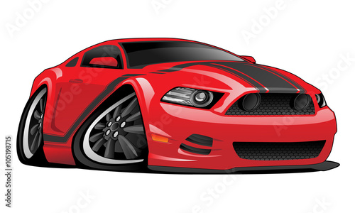 Keuken foto achterwand Cartoon cars Hot modern American muscle car vector cartoon illustration. Red with black stripes, aggressive stance, low profile, big tires and rims.