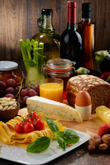 Naklejka Composition with variety of organic food products