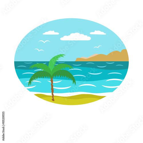 Spoed Foto op Canvas Turkoois Decorative sea landscape background