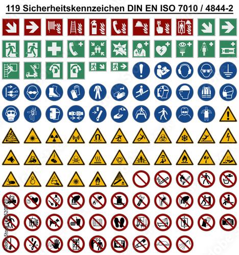 Photo Set - DIN EN ISO 7010 Sicherheitszeichen Warnzeichen Verbotszeichen Gebotszeiche